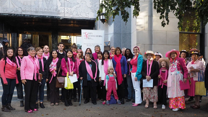 Members of Women Transforming Cities and the Raging Grannies stand in front of Vancouver City Hall during the 2014 mayoral election campaign. (Facebook / Women Transforming Cities)