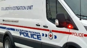 The exterior of a Durham Regional Police collision unit cruiser is seen in this photo.