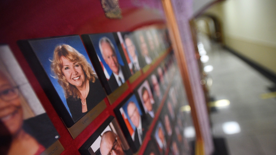 A picture of Senator Lynn Beyak among other official portraits on display outside the Senate on Parliament Hill in Ottawa on Sept. 21, 2017. (Sean Kilpatrick / THE CANADIAN PRESS)