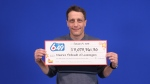Maurice Thibeault, 46, collected his cheque for $3,073,361 at the OLG Prize Centre in Toronto on Thursday. (Courtesy OLG)