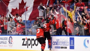 Canada forward Jordan Kyrou (25) celebrates his goal against the Czech Republic with teammate defenceman Conor Timmins (3) during second period semifinal IIHF World Junior Championship hockey action in Buffalo, N.Y. on Thursday, January 4, 2018. THE CANADIAN PRESS/Nathan Denette