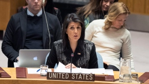 American Ambassador to the United Nations Nikki Haley speaks during a Security Council meeting on the situation in Iran, Friday, Jan. 5, 2018 at United Nations headquarters. (AP Photo / Mary Altaffer)