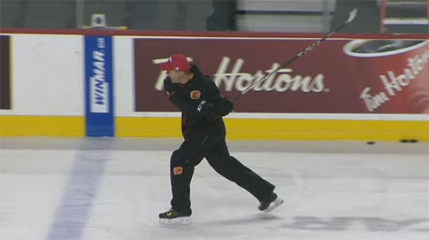 Former Calgary Flames head coach Glen Gulutzan was animated during a January 5, 2018 practice at the Saddledome
