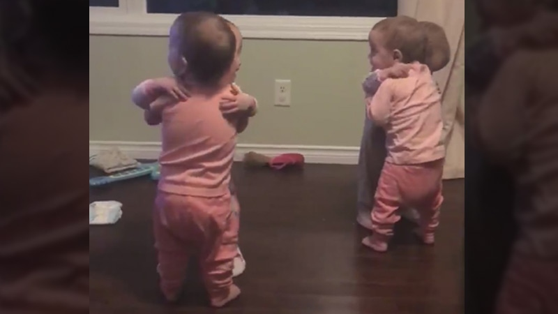 The Webb quadruplets, Abigail, Emily, Grace and McKayla, are seen in a still taken from a video posted on Facebook on January 1, 2018.