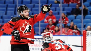 Canada defenceman Victor Mete (28) knocks the puck out of the air against the Czech Republic as Canada goaltender Carter Hart (31) looks on during second period semifinal IIHF World Junior Championship hockey action in Buffalo, N.Y. on Jan. 4, 2018. THE CANADIAN PRESS/Nathan Denette