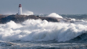 Waves pound the shore at Peggy's Cove, N.S. on Friday, Jan. 5, 2018. THE CANADIAN PRESS/Andrew Vaughan