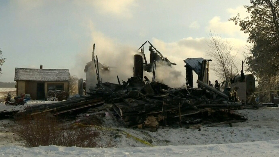 The scene of a house fire in Pubnico Head, N.S.