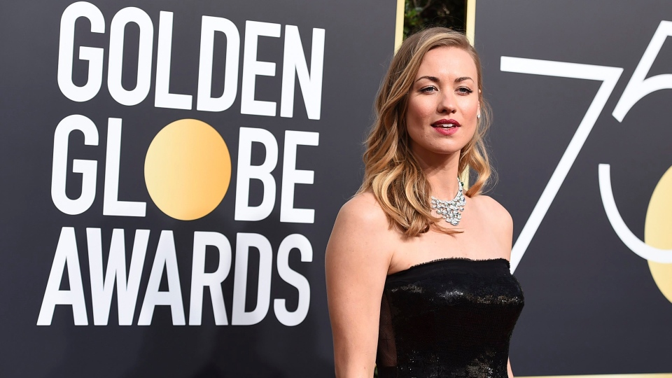 Yvonne Strahovski arrives at the 75th annual Golden Globe Awards at the Beverly Hilton Hotel on Sunday, Jan. 7, 2018, in Beverly Hills, Calif. (Photo by Jordan Strauss/Invision/AP)