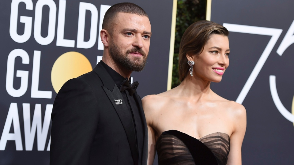 Justin Timberlake, left, and Jessica Biel arrive at the 75th annual Golden Globe Awards at the Beverly Hilton Hotel on Sunday, Jan. 7, 2018. (Photo by Jordan Strauss/Invision/AP)
