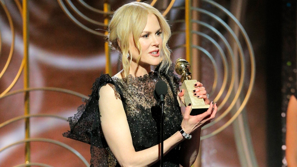 "This image released by NBC shows Nicole Kidman accepting the award for best performance by an actress in a limited series or motion picture made for TV for her role in ""Big Little Lies,"" at the 75th Annual Golden Globe Awards in beverly Hills, Calif., on Sunday, Jan. 7, 2018. (Paul Drinkwater/NBC via AP)"