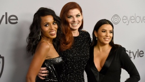 Kerry Washington, from left, Debra Messing, and Eva Longoria arrive at the InStyle and Warner Bros. Golden Globes afterparty at the Beverly Hilton Hotel on Sunday, Jan. 7, 2018, in Beverly Hills, Calif. (Photo by Chris Pizzello/Invision/AP)