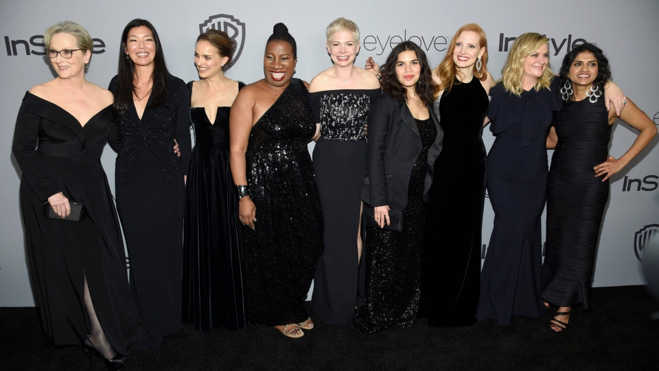 Meryl Streep, from left, Ai-jen Poo, Natalie Portman, Tarana Burke, Michelle Williams, America Ferrera, Jessica Chastain, Amy Poehler, and Saru Jayaraman arrive at the InStyle and Warner Bros. Golden Globes afterparty at the Beverly Hilton Hotel on Sunday, Jan. 7, 2018, in Beverly Hills, Calif. (Photo by Chris Pizzello/Invision/AP)