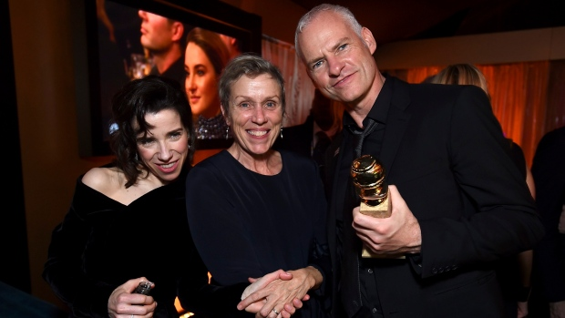 Sally Hawkins, Frances McDormand, and Martin McDonagh attend FOX 2018 Golden Globes After Party at The Beverly Hilton. (Jordan Strauss/Invision for January Images/AP Images)