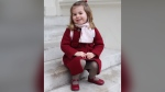 Princess Charlotte at Kensington Palace on Jan. 8, 2018, from the Kensington Palace Twitter account. The images were taken by The Duchess, Kate Middleton, shortly before Charlotte left for her first day of nursery at the Willcocks Nursery School, according to the tweet. (Twitter/KensingtonRoyal)