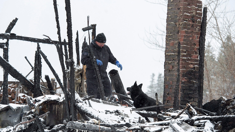 An RCMP dog handler and a human remains detection dog search the scene of a house destroyed in a fatal weekend fire in Pubnico Head, N.S. on Monday, Jan. 8, 2018.  (THE CANADIAN PRESS/Andrew Vaughan)