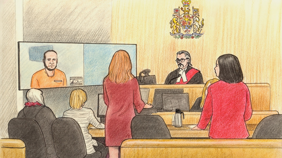 Court scene from Jan. 8, 2018, when Joshua Boyle appeared briefly via video (Court sketch by Lauren Foster-Macleod)