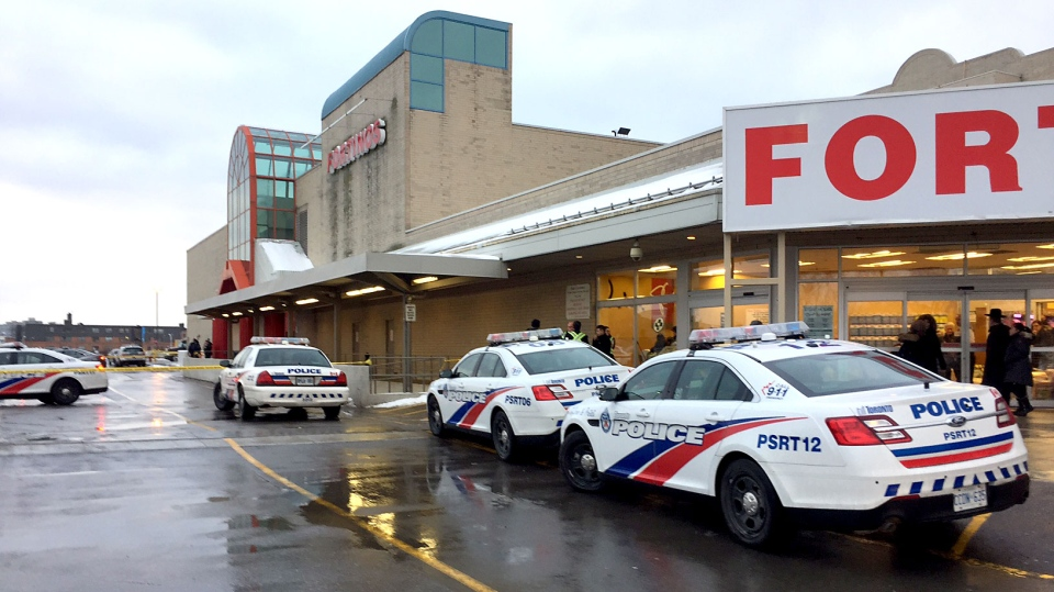 Toronto police cruisers parked outside Lawrence Square Plaza where shots were fired on Jan 8, 2018. (Ted Brooks/CTV News Toronto)