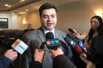 Saskatoon Eastview MLA Corey Tochor answers questions after announcing plans to challenge MP Brad Trost for the Conservative Party's nomination ahead of the next federal election. (Albert Delitala/CTV News)