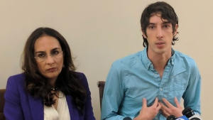 James Damore, right, a former Google engineer fired in 2017 after writing a memo about the biological differences between men and women, speaks at a news conference while his attorney, Harmeet Dhillon, listens, Monday, Jan. 8, 2018, in San Francisco. (Michael Liedtke/AP Photo)