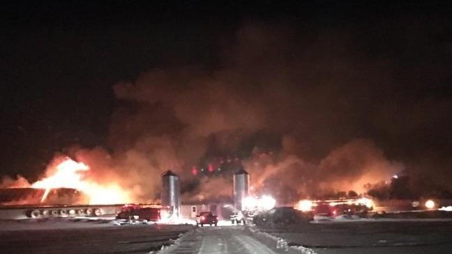 Line 16 Barn Fire near St. Marys. (courtesy OPP)