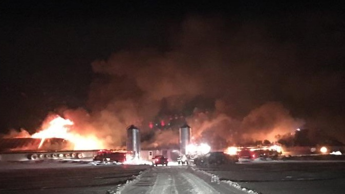 Fire ripped through a barn on Line 17 in Perth South on Tuesday, Jan. 9, 2018. (Perth County OPP)