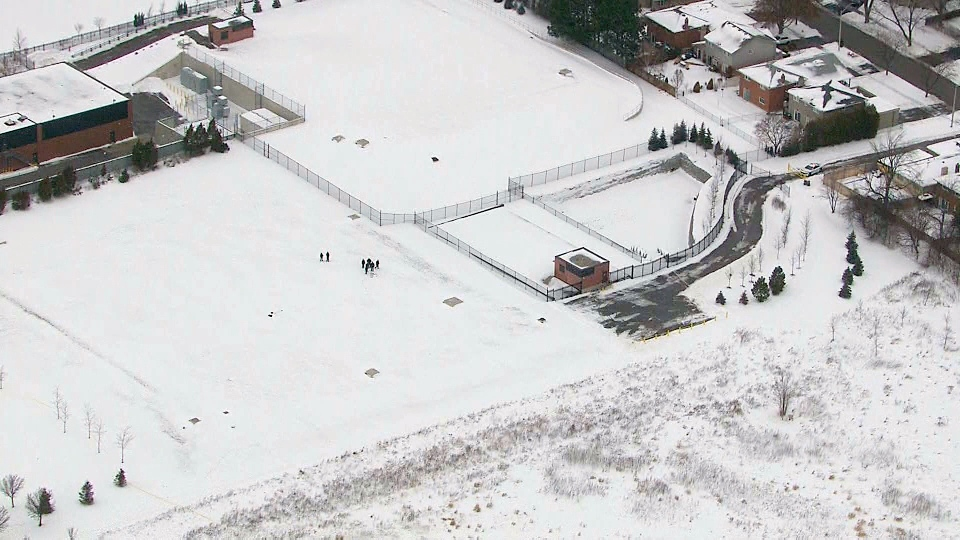 A view from the CTV News Chopper of a Mississauga park where the body of a male was found on Jan. 9, 2018.