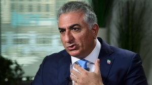 Reza Pahlavi, the exiled son of Iran's last shah before the 1979 Islamic Revolution and a critic of the country's clerical leaders, speaks during an interview with The Associated Press in Washington, Tuesday, Jan. 9, 2018. (AP Photo/Susan Walsh)