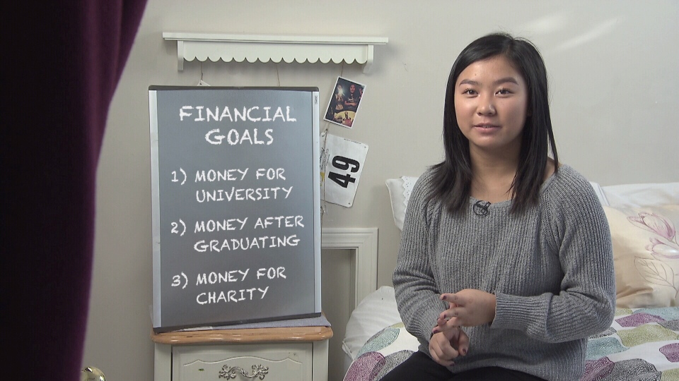 16-year old Katherine Jang lists her financial goals. (CTV)