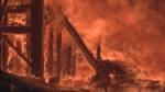Close up of a barn on fire