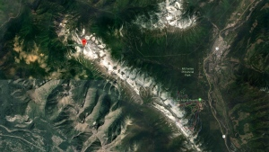 The Lizard Mountain range near Fernie, B.C. is seen in this Google Maps image. (Source: Google Maps)
