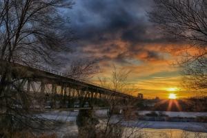 """Sunrise at the Grand Trunk Bridge."" (Dale Evjen)"