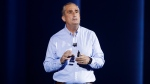 Intel CEO Brian Krzanich delivers a keynote speech at CES International, in Las Vegas, on Monday, Jan. 8, 2018. (AP Photo/Jae C. Hong)