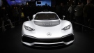 The Mercedes-AMG Project One plug-in hybrid supercar appears on display at CES International, on Jan. 9, 2018, in Las Vegas. (AP / Jae C. Hong)
