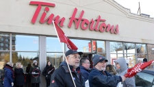 Protest outside a Tim Hortons in Toronto
