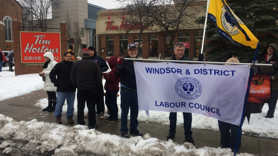 Day of Action at the Tim Hortons on Park Street in Windsor, Ont., on Wednesday, Jan. 10, 2018. (Michelle Maluske / CTV Windsor)