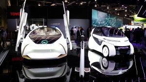 Toyota Concept-i Series vehicles appear on display at CES International, Tuesday, Jan. 9, 2018, in Las Vegas. (AP Photo/Jae C. Hong)