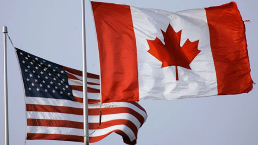Canadian flag, American flag