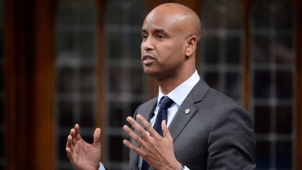 Minister of Immigration, Refugees and Citizenship Ahmed Hussen during Question Period in the House of Commons in Ottawa, Tuesday, Jan.31, 2017. (THE CANADIAN PRESS / Adrian Wyld)