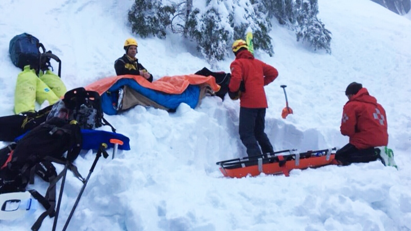 A photo posted by North Shore Rescue shows crews helping a skier injured in Mount Seymour Provincial Park.