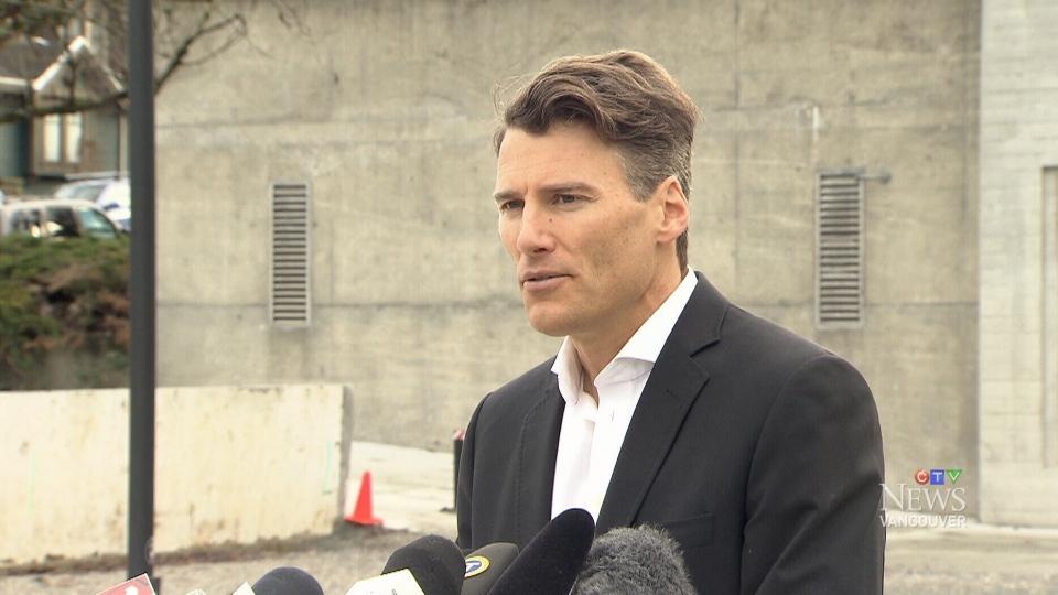 Vancouver Mayor Gregor Robertson speaks with reporters on Wednesday, Jan. 10, 2018.