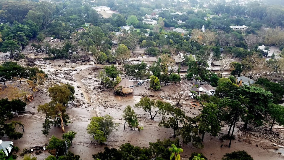 This aerial photo provided by the Santa Barbara County Fire Department shows mudflow and damage to homes in Montecito, Calif., Wednesday, Jan. 10, 2018. (Matt Udkow/Santa Barbara County Fire Department)