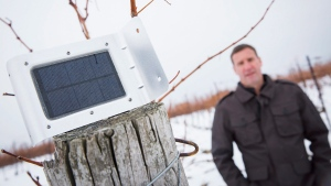 Matthew Speck, viticulturist at Henry of Pelham Estate Winery in St. Catharines, Ont., poses in the winery's vineyard with a weather monitoring device, Wednesday, January 10, 2018. (THE CANADIAN PRESS / Tara Walton)