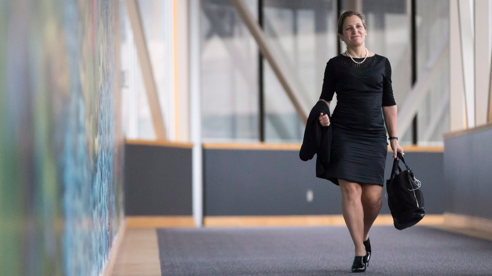 Foreign Affairs Minister Chrystia Freeland arrives for a cabinet retreat in London, Ont. on Thursday, January 11, 2018. (THE CANADIAN PRESS/Geoff Robins)
