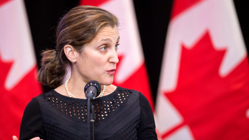 Foreign Affairs Minister Chrystia Freeland speaks to the media as she arrives for the first day of a cabinet retreat in London, Ontario on Thursday, Jan. 11, 2018. (THE CANADIAN PRESS/Geoff Robins)