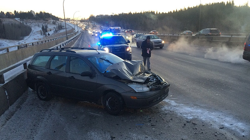 Police on the scene of a collision on Rainbow Valley Bridge on Thursday, January 11, 2018. EPS said no injuries were reported in this collision.