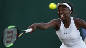 Francoise Abanda at the Wimbledon Tennis Championships in London on July 5, 2017. (Alastair Grant / AP)