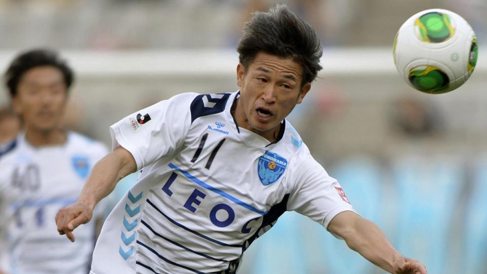 Kazuyoshi Miura of Yokohama FC in Tokyo, on May 3, 2013. (Kyodo News / AP)