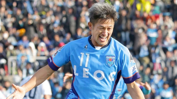 Kazuyoshi Miura celebrates a goal