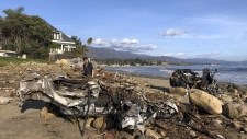 Wreckage on the beach in Montecito, Calif.