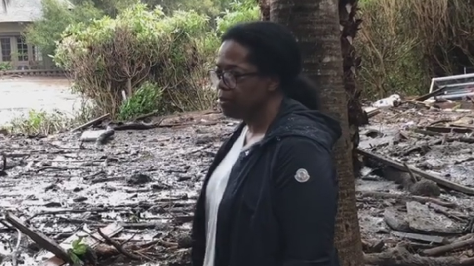 In this image from video, Oprah Winfrey surveys mudslide damage in Montecito, Calif. (source: Instagram / oprah)